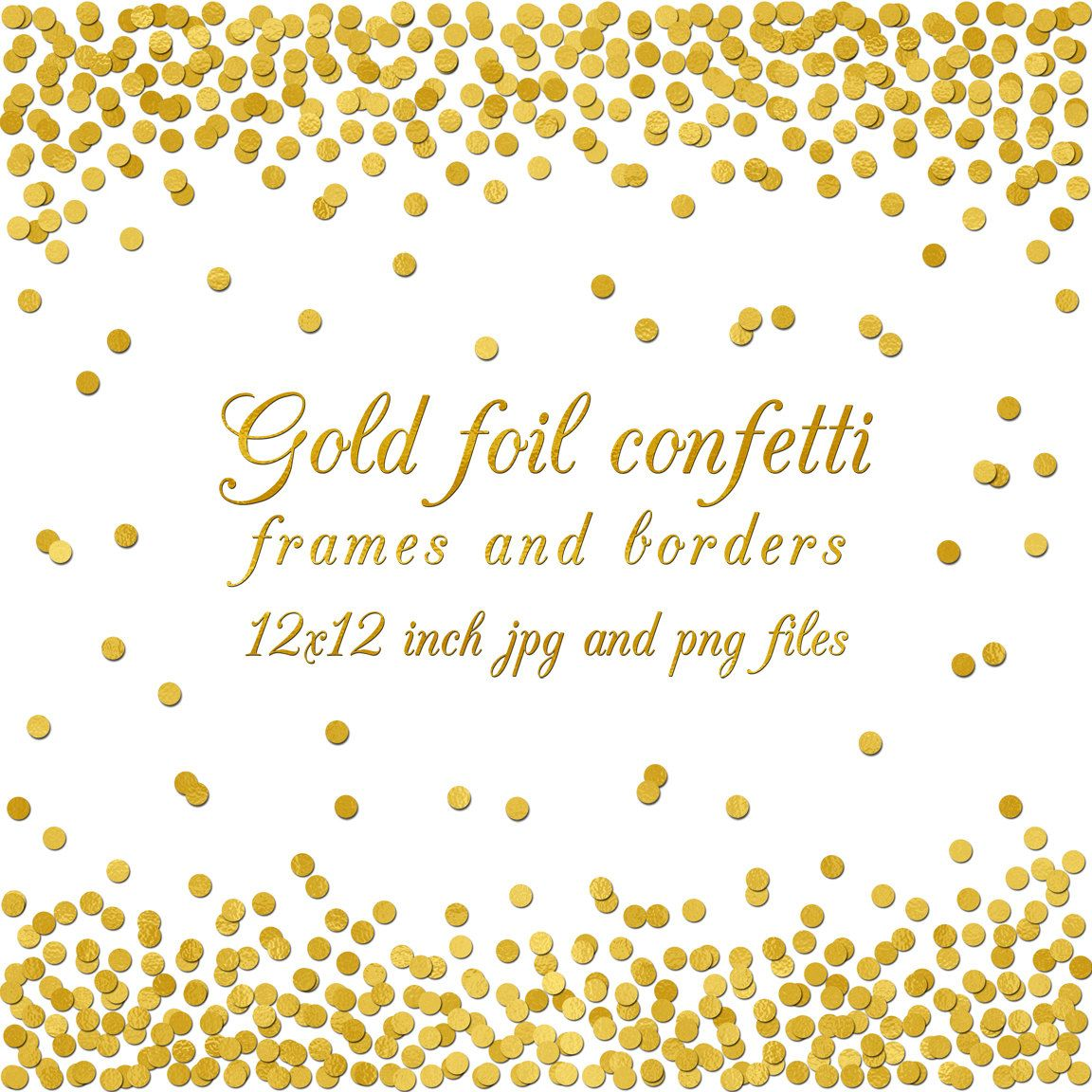 Gold Foil Confetti Overlay Border Frame Digital Paper 12x12 Inch Background Wedding Invitation Scrapbooking Png Jpg