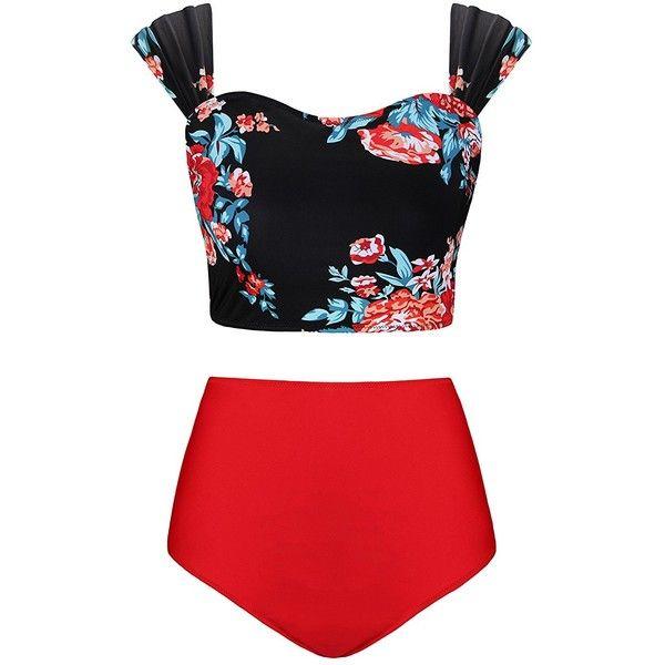 ea8d7ea257 ($22) ❤ liked on Polyvore featuring swimwear, bikinis, plus size bikini,  plus size high waisted bathing suits, high waisted two piece ...