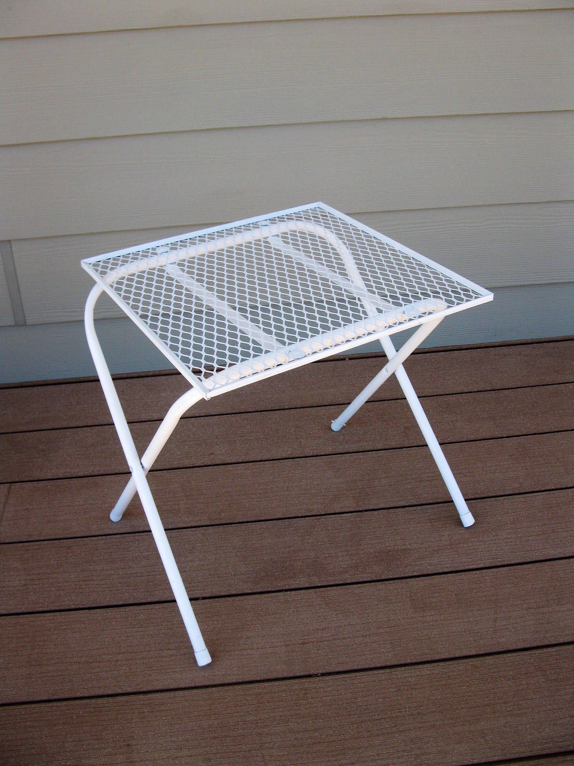 Vintage Metal Mesh Patio Table Folding Mid Century Outdoor Plant Stand Furniture Handi Casual 16 Square By Oakiesclaptrap
