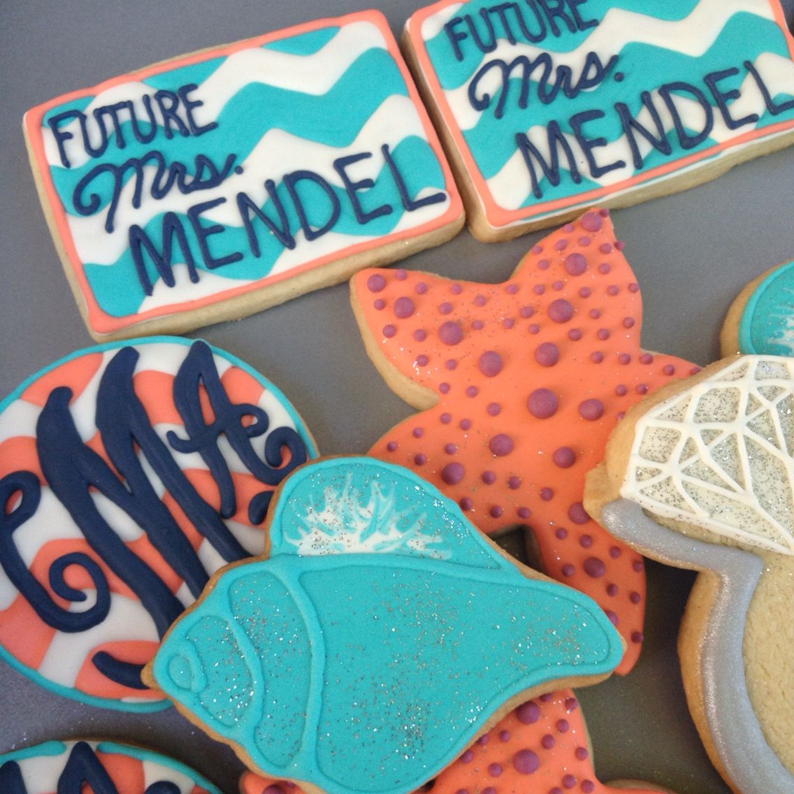 Bachelorette Party Cookies. Beach theme with monograms and chevron.