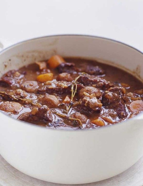 Beef, chestnut and red wine casserole Warm up this winter with a hearty stew. You can't go wrong with chunks of beef, chestnuts and carrots slow cooked together in red wine