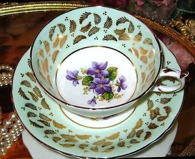 PARAGON TEA CUP AND SAUCER VIOLETS & LIME GOLD CHINTZ WIDE MOUTH TEACUP