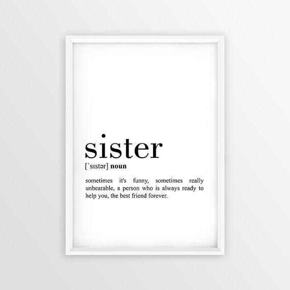 Sister Definition Print Sister Printable Poster Sister