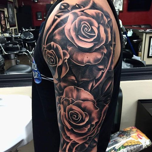 01d72faaf1cb4 Beautiful Rose Arm Tattoo Designs For Men - Best Arm Tattoos For Men: Cool  Arm Tattoo Ideas and Designs For Guys. Badass, Creative, Meaningful, and  Awesome ...