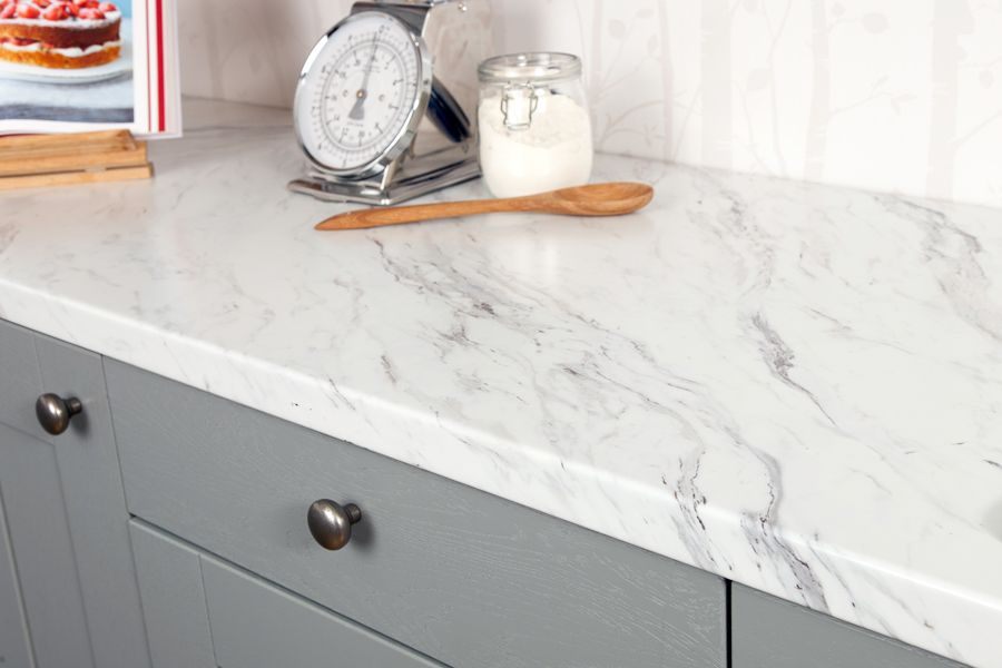 This Marble Effect Worktop Is Designed To Accurately Resemble Real