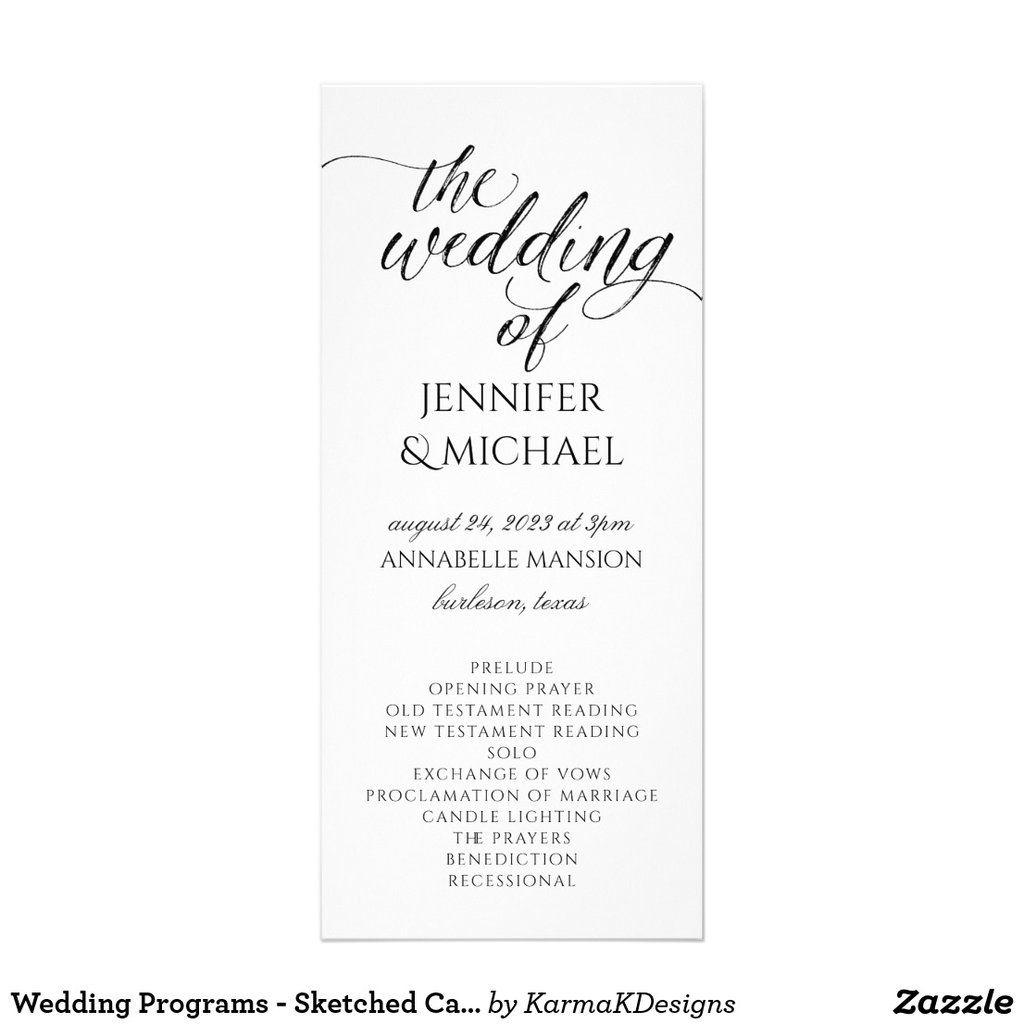 Sketched Calligraphy Black Wedding Program Template Custom Printed