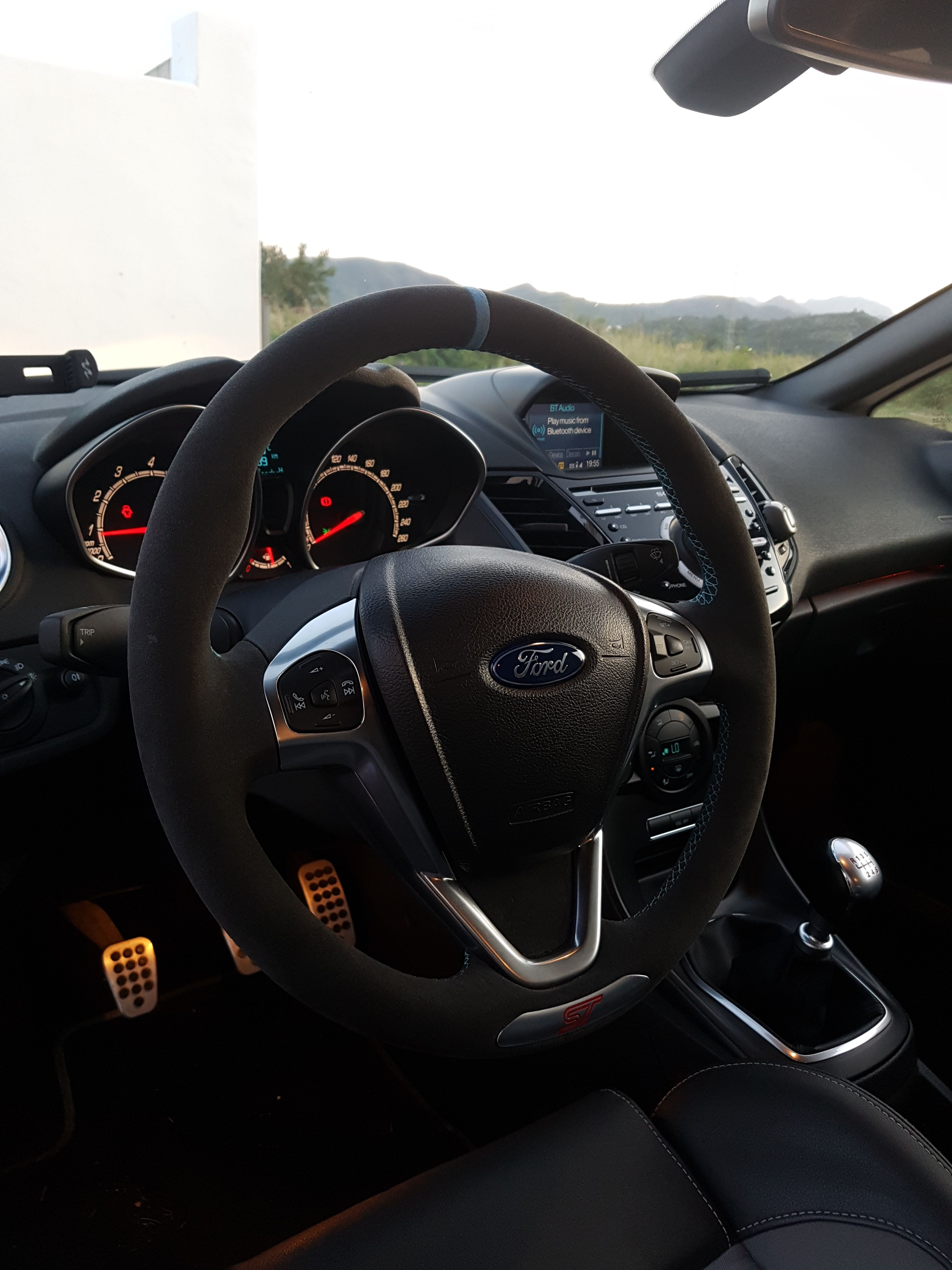 Ford Fiesta Custom Steering Wheel Full Alcantara Re Trim Blue