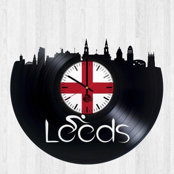 51a29b2b Leeds UK Handmade Vinyl Record Wall Clock Fan Gift | City skyline ...