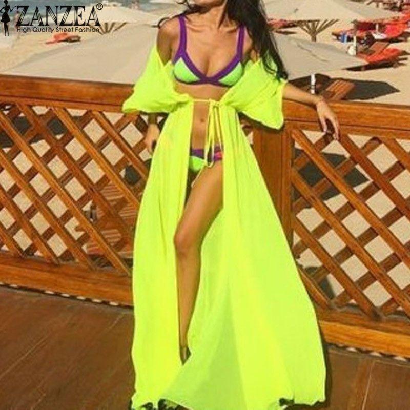 2017 boho delle donne di estate vestidos chiffon cardigan lungo costumi da bagno con la cinghia costume da bagno sexy beach bikini swimwear cover up top