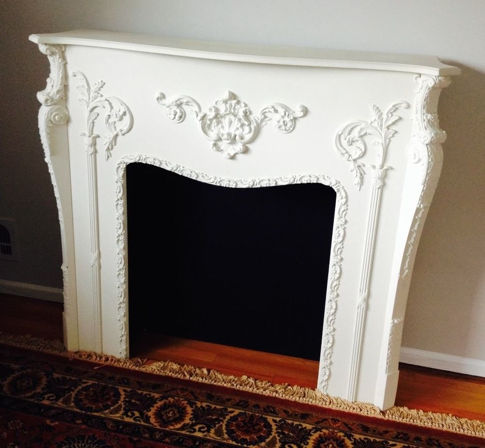 Antique victorian fireplace surround mantel ornate painted white