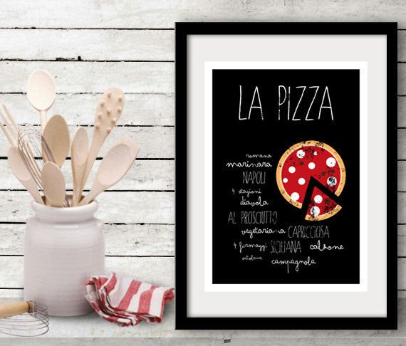 La Pizza   Kitchen Art Print   Italian Food Poster   Letterpress Recipe    Handwritten