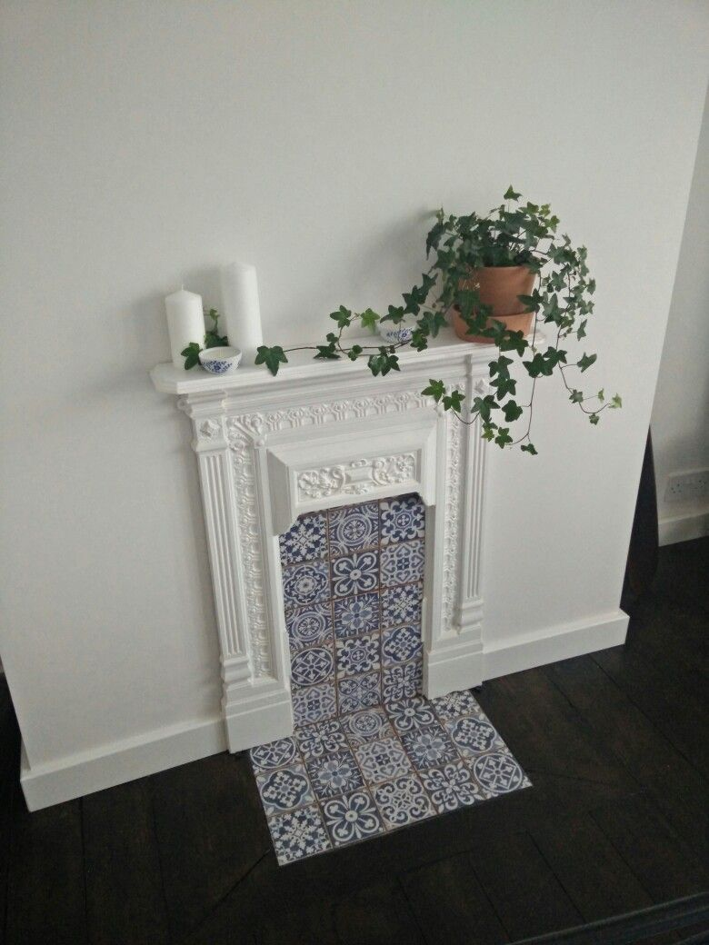 Gusseisen Ofen Streichen Antique White Victorian Bedroom Fireplace Upcycle With Blue Tiles