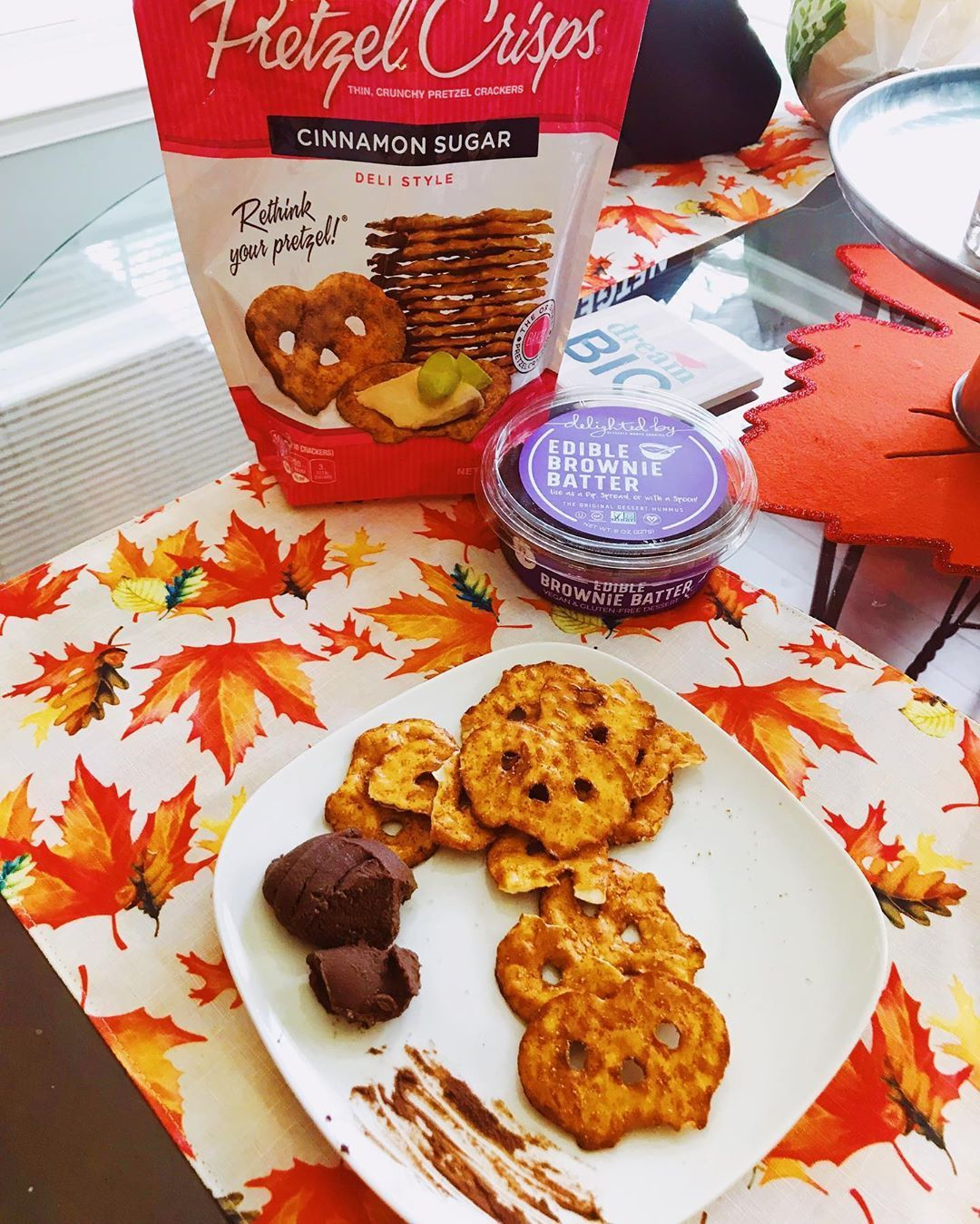Brownie batter hummus and cinnamon sugar pretzels are the perfect snack to cure the sweet tooth when...