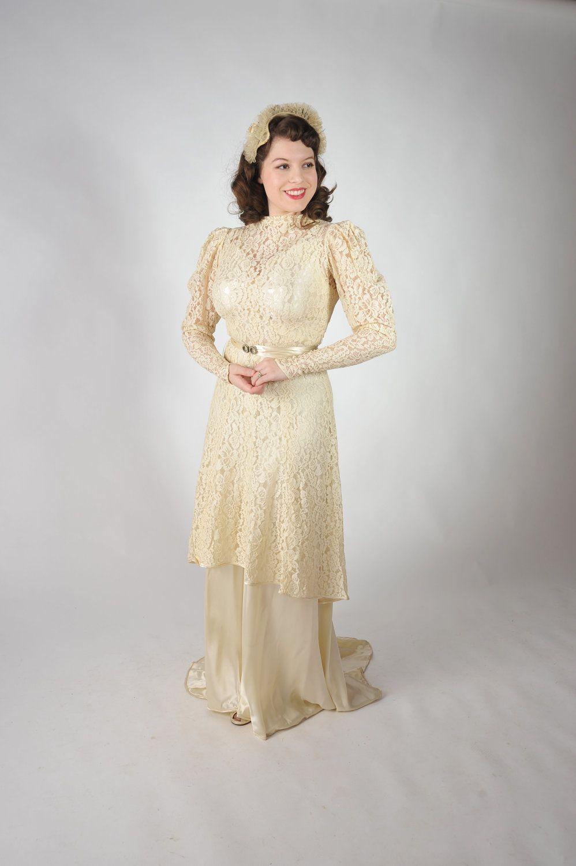 1930 wedding dress  Vintage s Wedding Dress  The Harlow Vanil Satin Bias Cut Gown