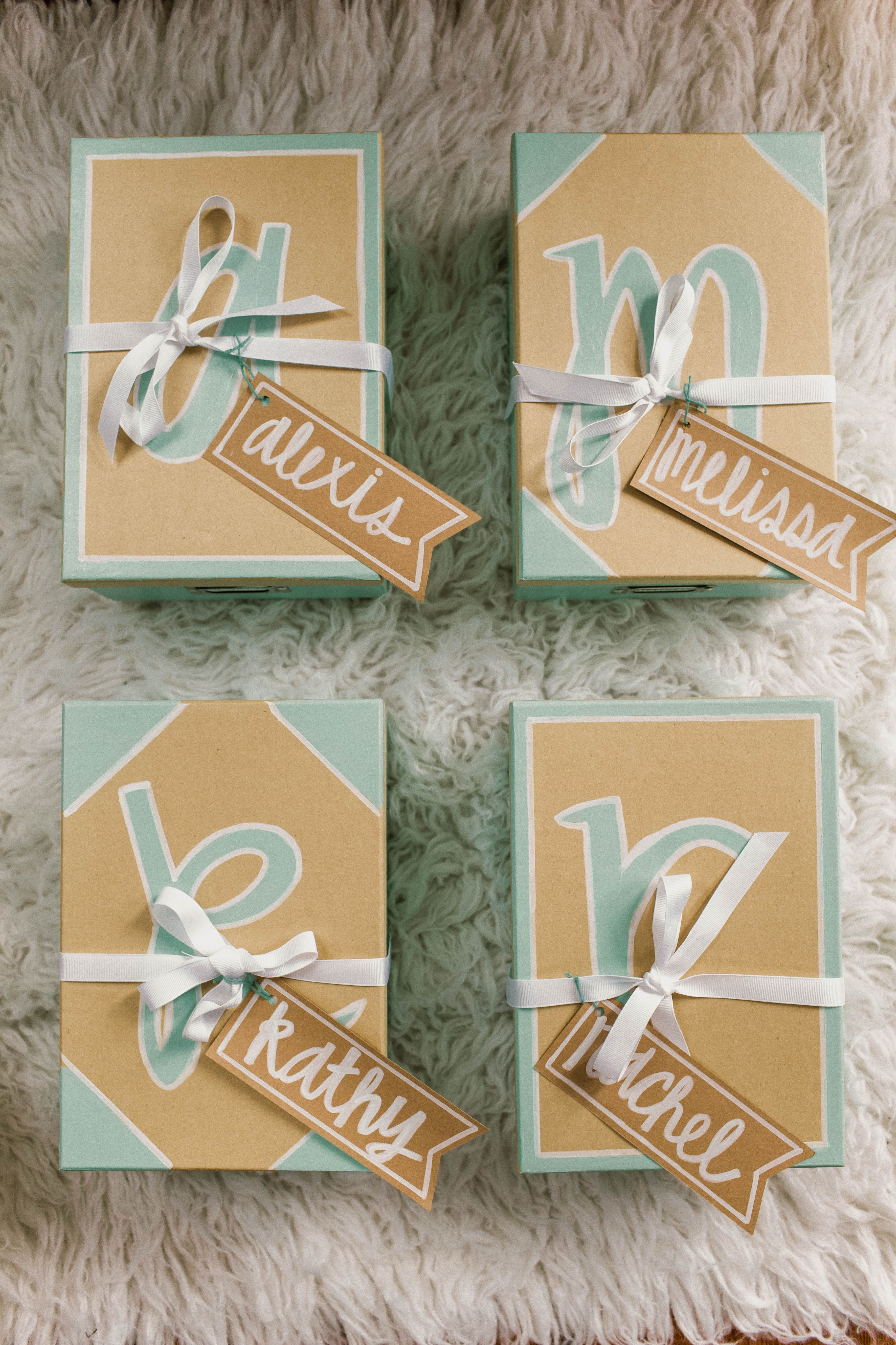 Inspiration for bridesmaid gifts and gift boxes teale and khaki
