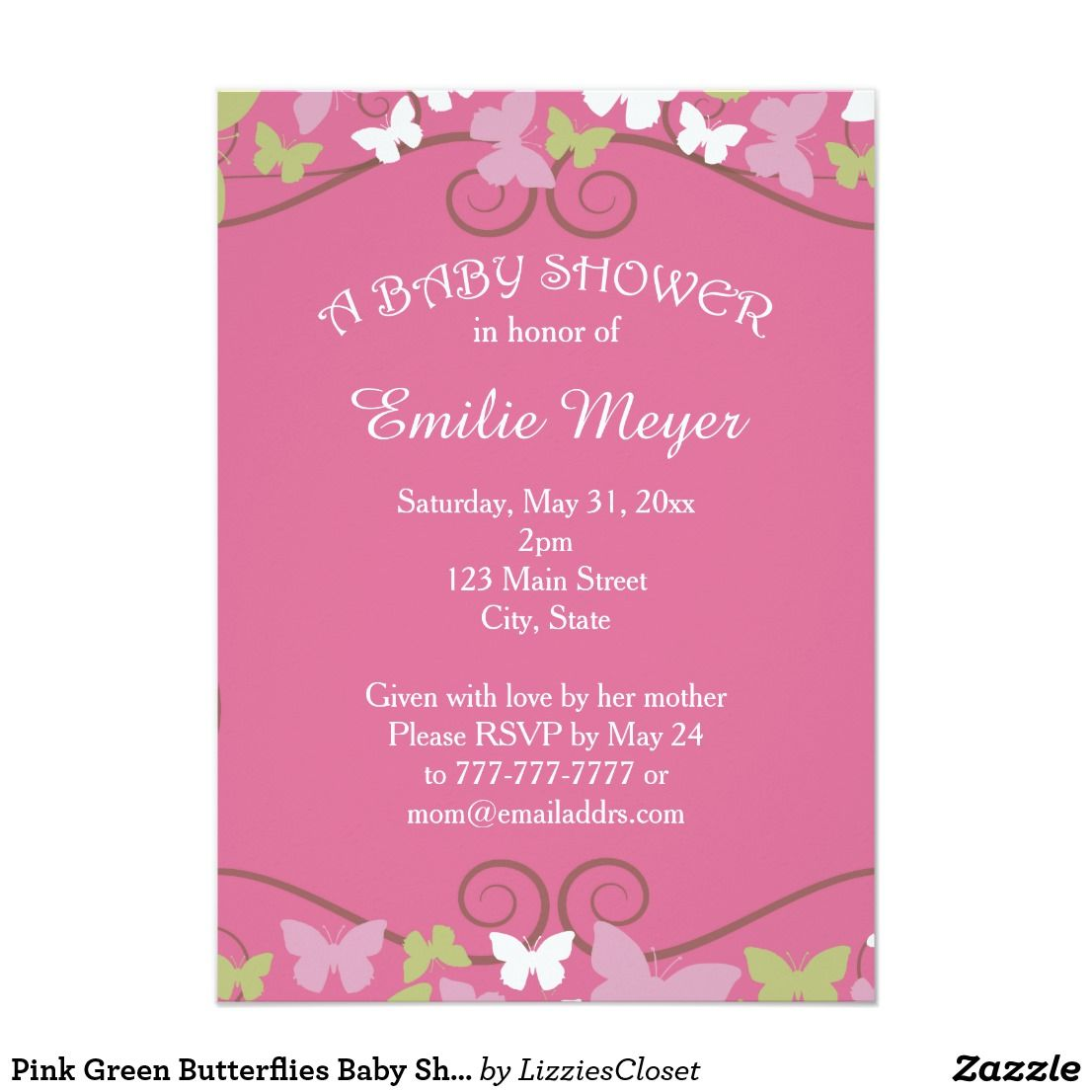 Pink Green Butterflies Baby Shower Invitation | Butterfly baby ...