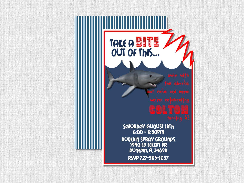 Shark bite birthday invitation via etsy shark party