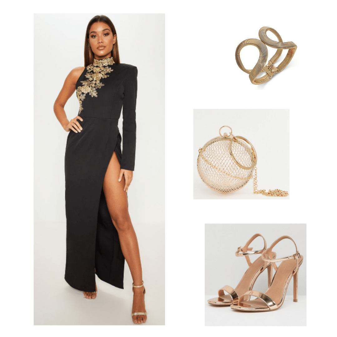 Bts Inspired Outfit With Black And Gold Gown Gold Accessories And Gold Shoes Black And Gold Outfit Music Inspired Fashion Bts Inspired Outfits [ 1080 x 1080 Pixel ]