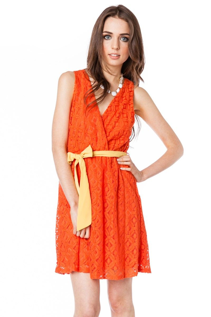 ShopSosie Style : Lace Petal Wrap Dress in Orange