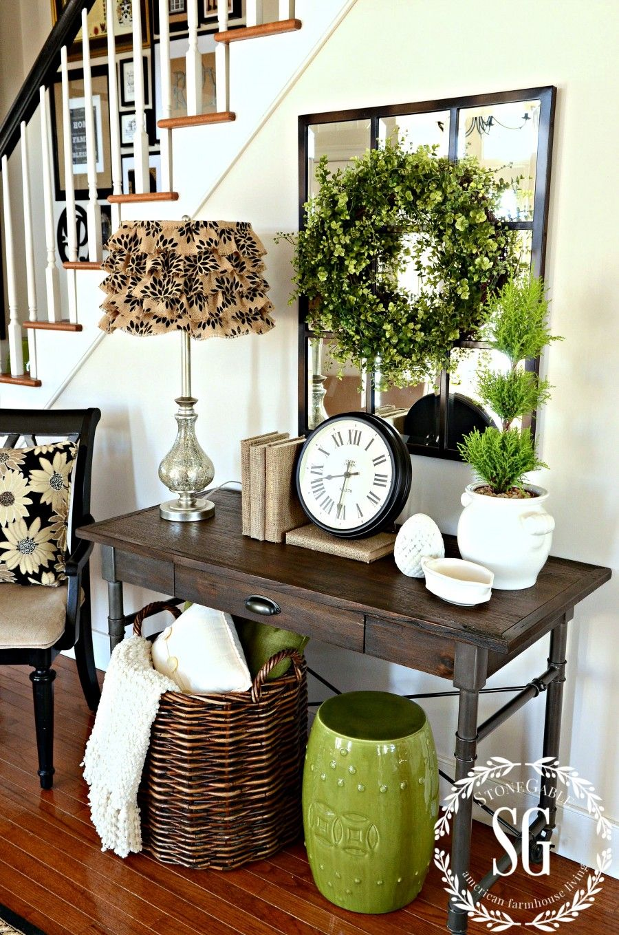 Boxwood Wreath In The Foyer And A Giveaway Entry Table Mirror Black