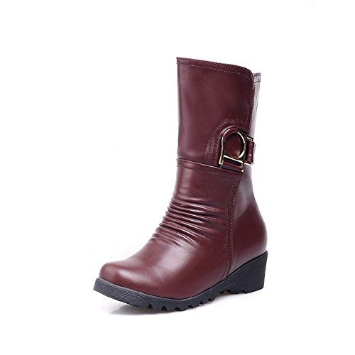 WeiPoot Womens PU Lowtop Solid Pullon LowHeels Boots Brown 37 ** Find out more about the great product at the image link.