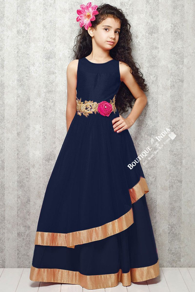 b54563af110f1 Girl's - Dark Blue With Golden Casual Gown/Dress - Gilr's Casual And Party  Collection Gowns
