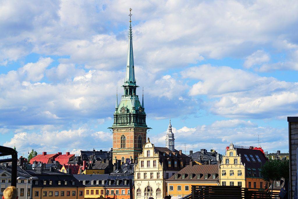 German Church spire & Stockholm skyline by Andrey Sulitskiy