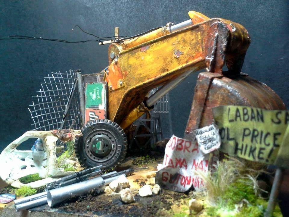 1:20 Scale Vignette: junk backhoe, truck tire & a monoblock chair ...