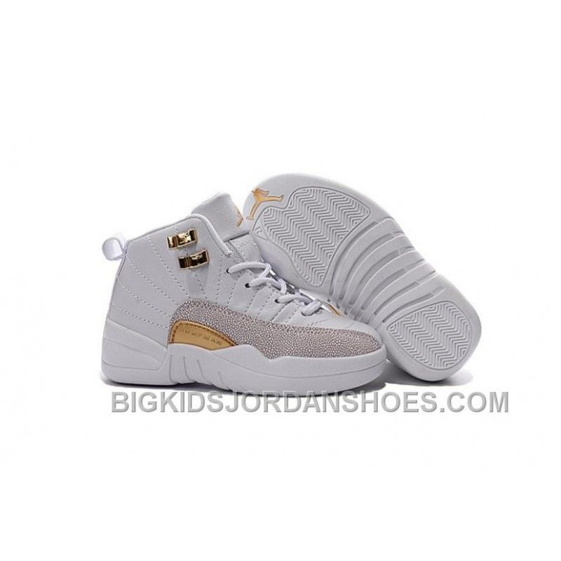 new style 92c85 66cf0 New 2016 Discount Nike Air Jordan 12 XII Kids Basketball Shoes White Golden Child  Sneakers,