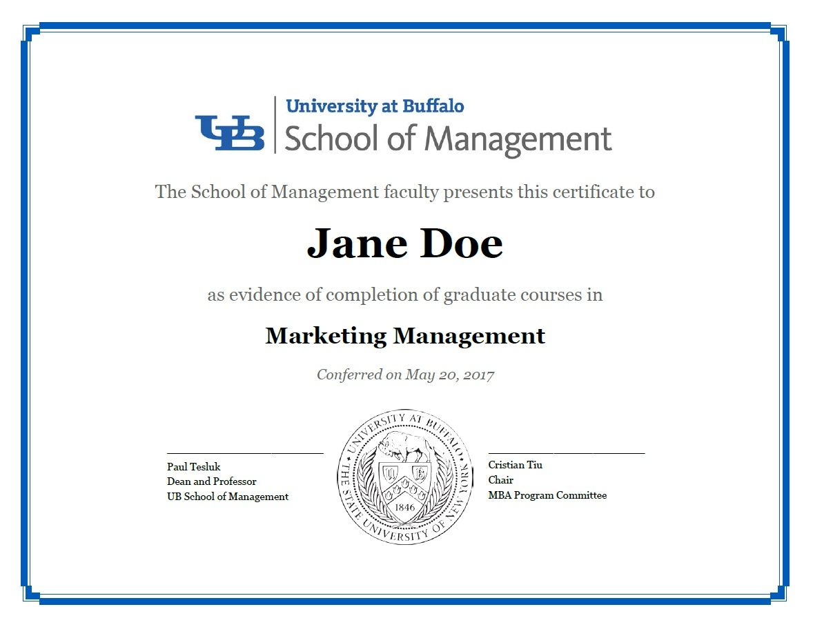 Certificates School Of Management University At Buffalo Throughout Leadership Award Certifi Certificate Templates Degree Certificate Classroom Certificates