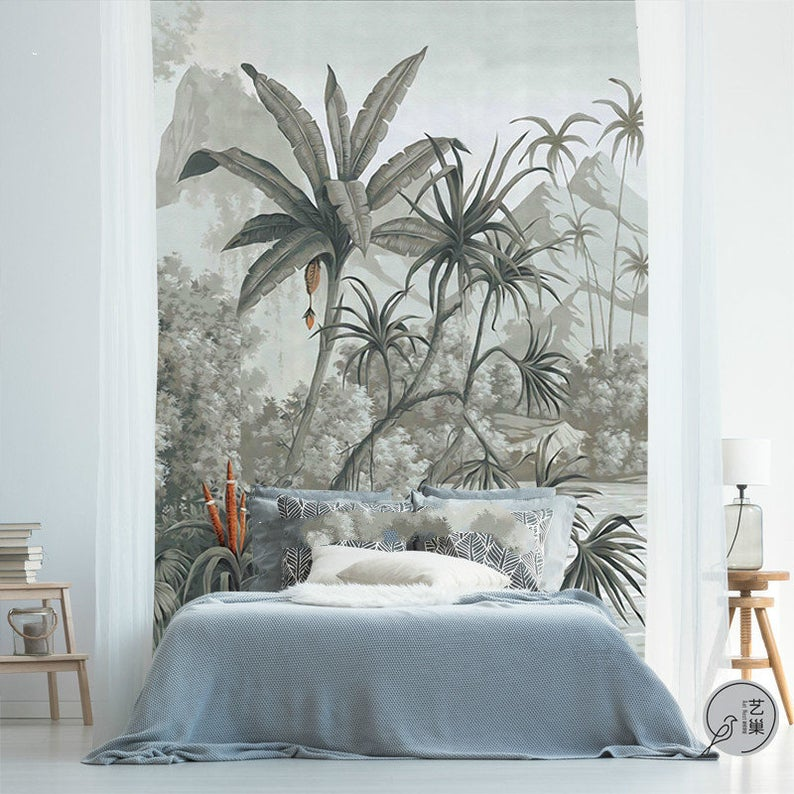 Hand Painted Retro Tropical Plants Wallpaper Wall Mural Etsy Deco Chambre Parentale Tete De Lit Tete De Lit Papier Peint Deco Chambre Parents