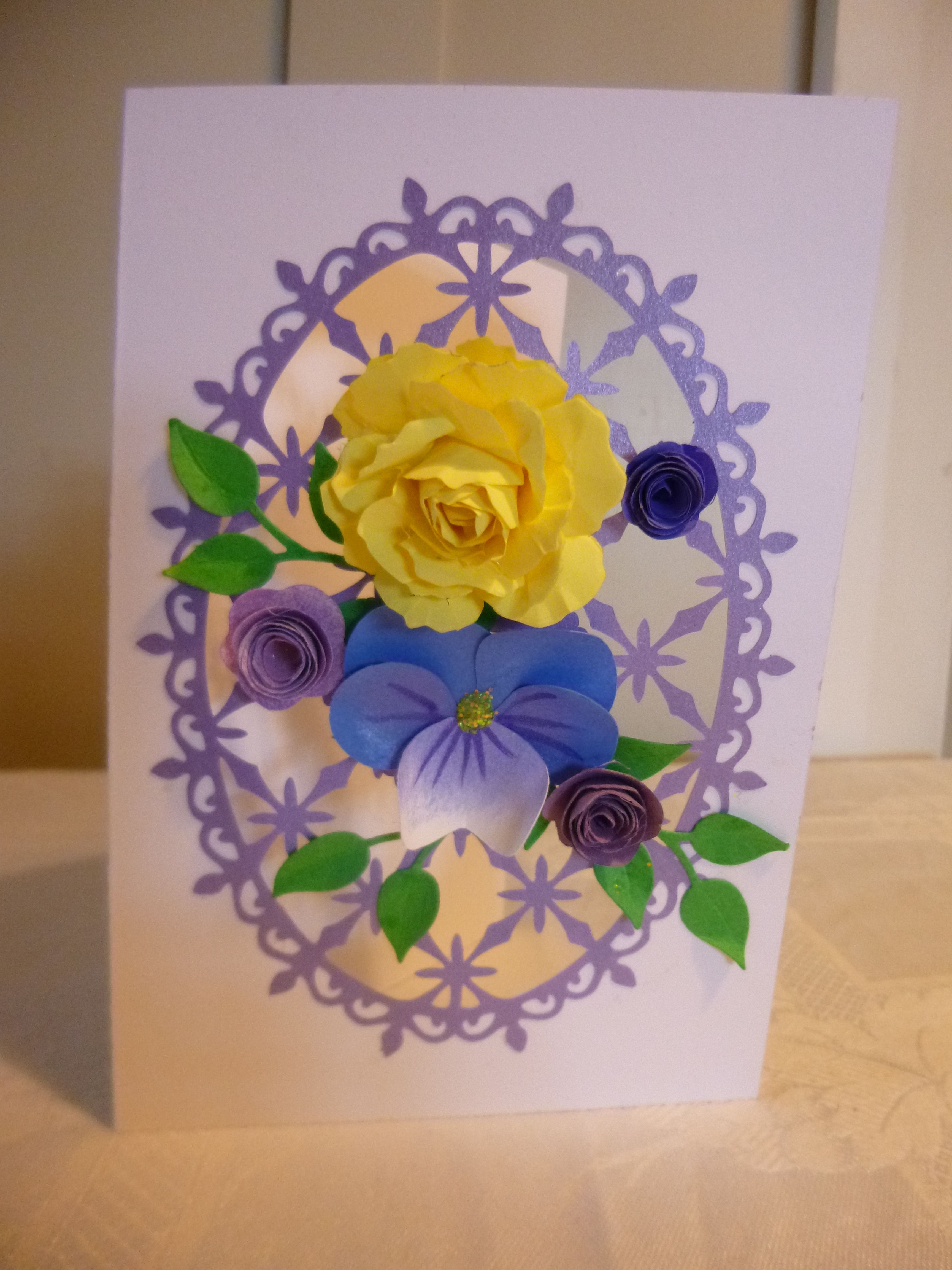 Card With Handmade Paper Flowers And Heartfelt Creations Decorative