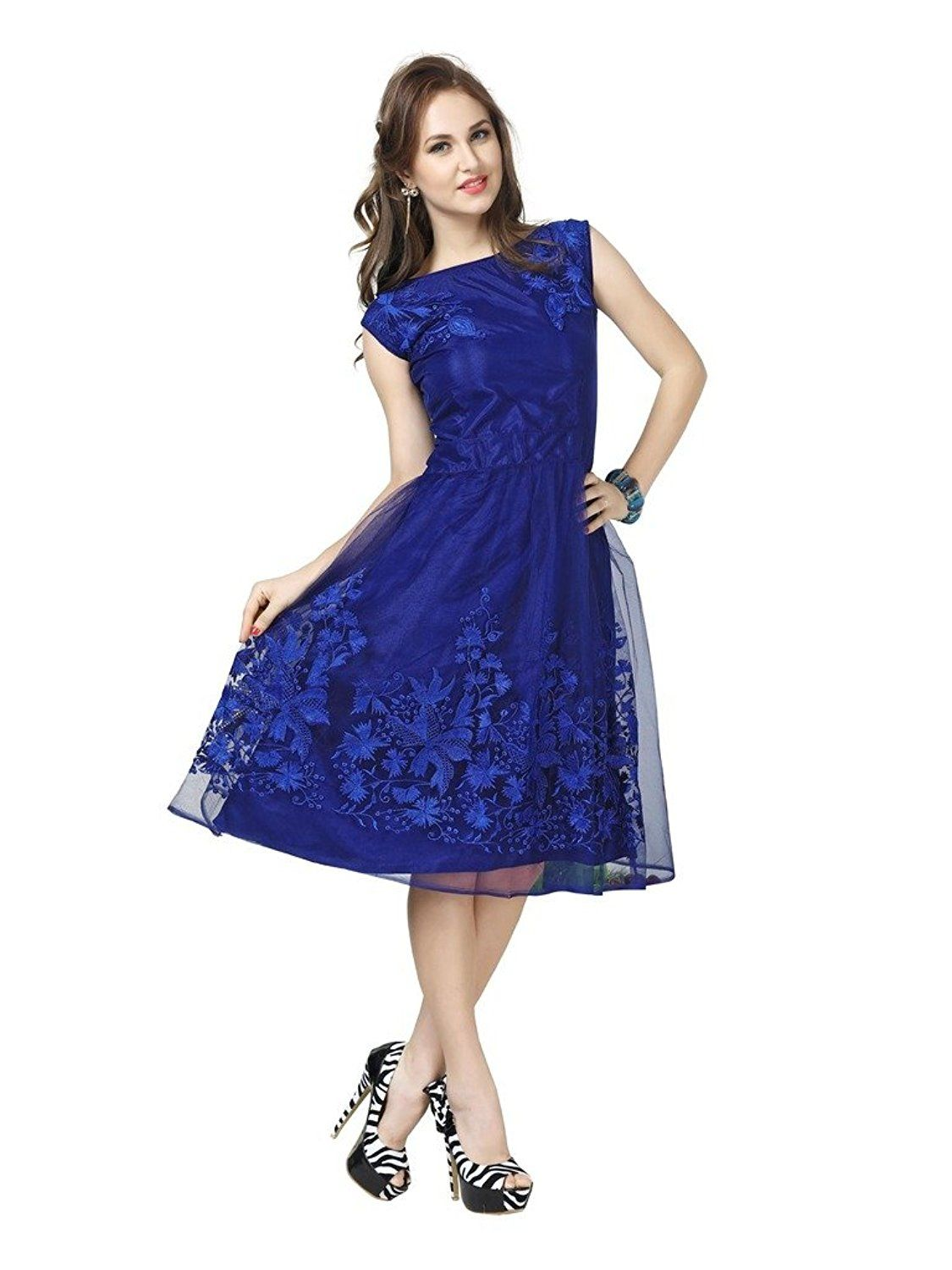 e53d60fa1e54 Elevate Women s Blue Net Embroidered A-Line Dress Blue Colour Fabric  - net  Length -Midi Knee Length Round Neck And Sleeveless Wash Care   hand wash  And dry ...