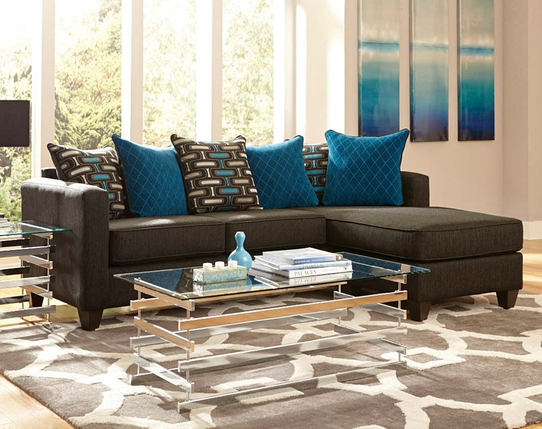 Black Couch with Chaise, Pillows Watson Two Piece