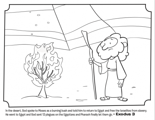 childrens bible stories coloring pages moses | Moses and the Burning Bush - Bible Coloring Pages | Bible ...