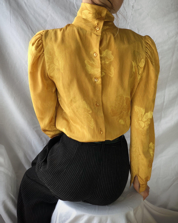 3e66d141f7db43 vintage yellow mustard high neck blouse, 80s ruffle blouse, boho ...