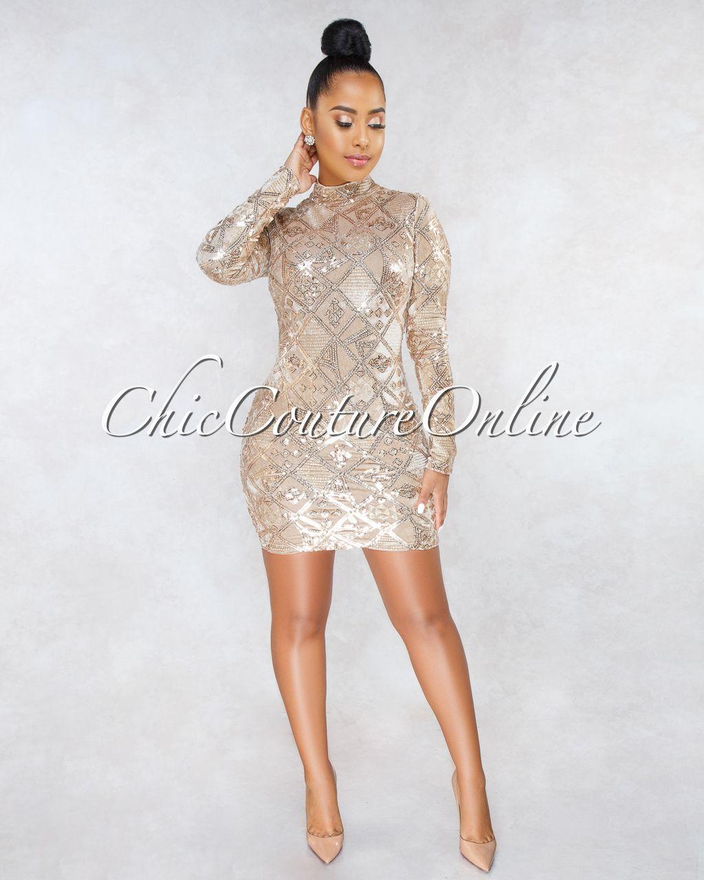 c8db1892d78 Chic Couture Online - Dorion Nude Velvet Gold Sequins Long Sleeves Dress