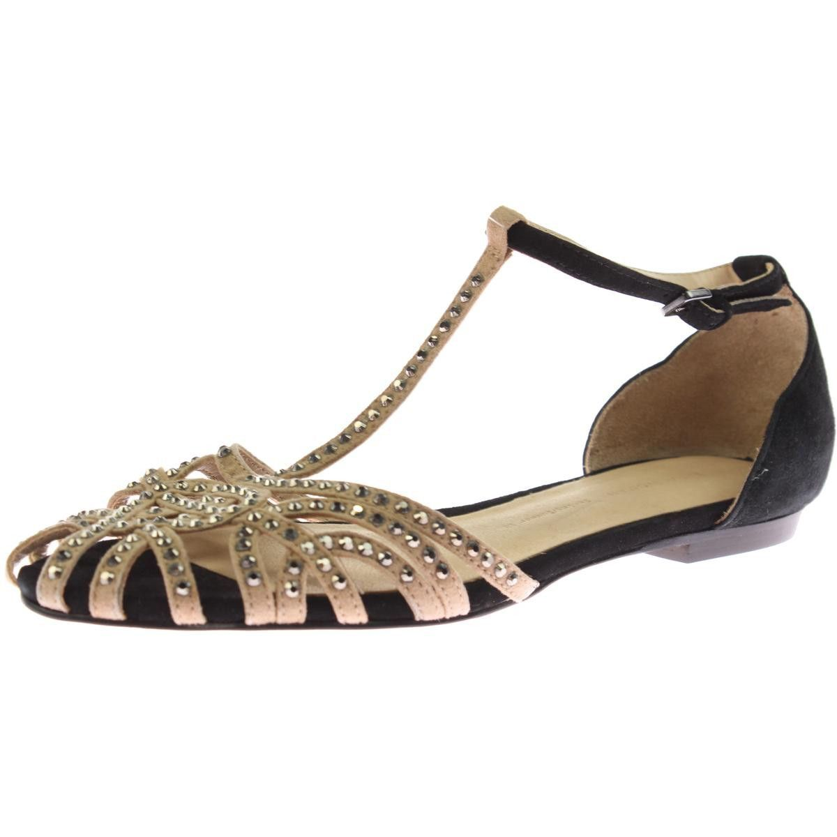 Zara Womens Jeweled Strappy Flats