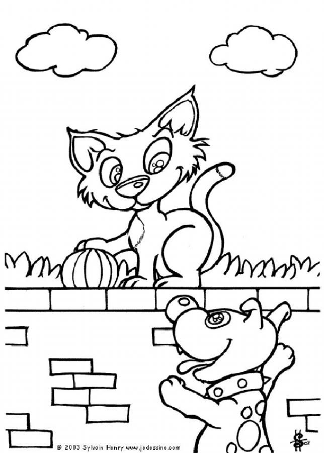 Cat On The Wall Coloring Page Nice Cat Drawing For Kids More