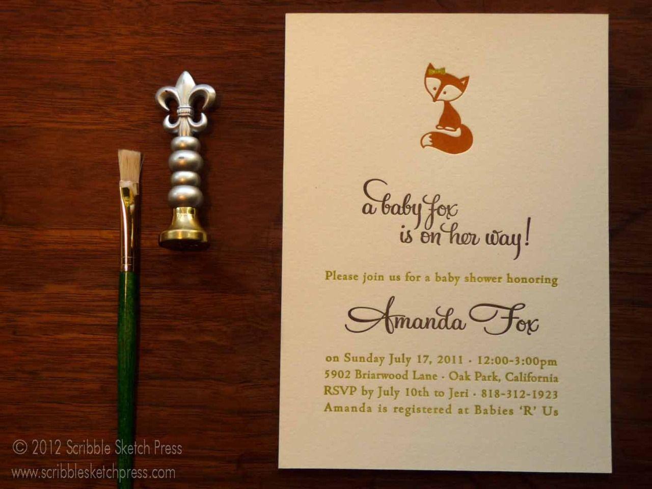 Full photo of the baby fox invitation! Custom letterpress baby ...