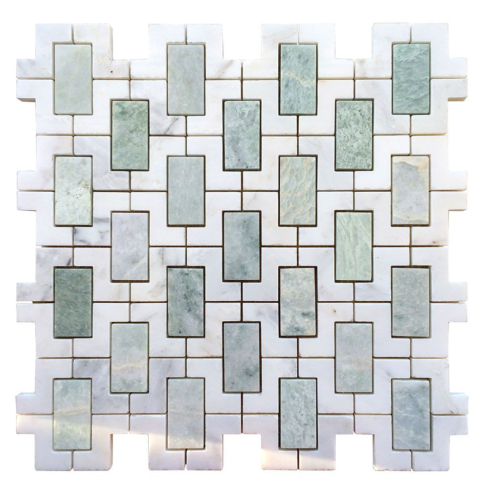 Arabescato marble ming green marble and calacatta marble mix arabescato marble ming green marble and calacatta marble mix interlock mosaic tile dailygadgetfo Choice Image