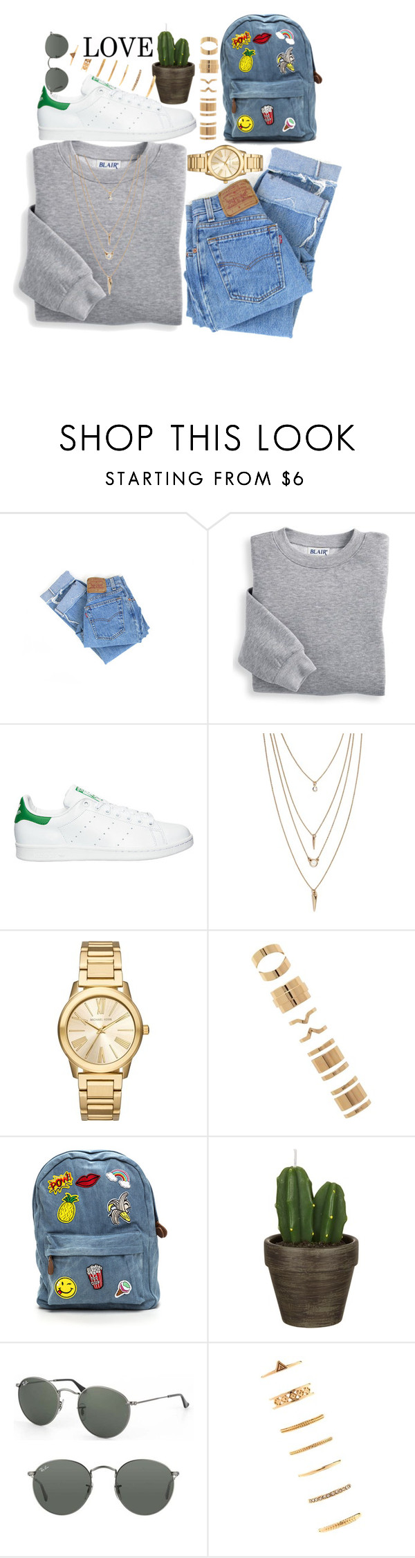 """""""Untitled #69"""" by adibaron1122 ❤ liked on Polyvore featuring Levi's, Blair, adidas, Forever 21, Michael Kors, John Lewis and Ray-Ban"""