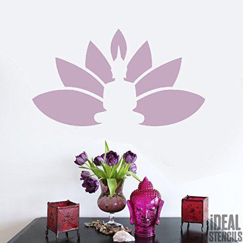 Bouddha Lotus Fleur Pochoir réutilisable Maison décore de mur , Art