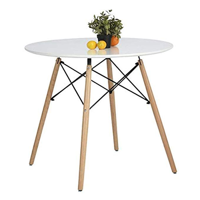 Coavas Kitchen Dining Table White Round Coffee Table Modern