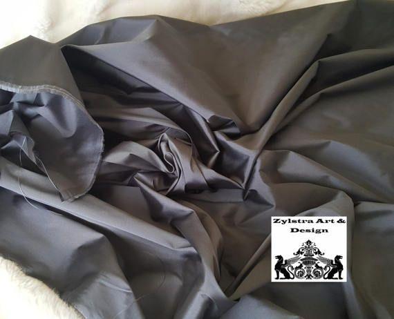 STEEL GRAY Taffeta SILK fabric by the yard taffeta silk