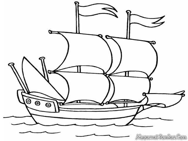 10 Gambar Mewarnai Kapal Laut Bonikids Coloring Page Pinterest