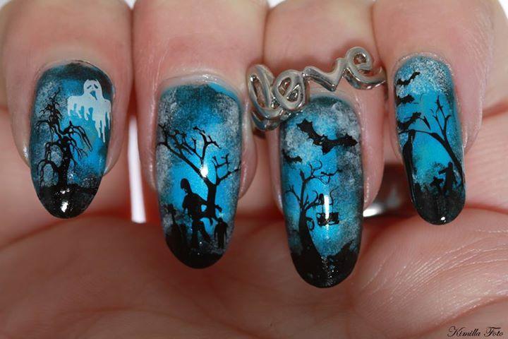 halloween nail stamping