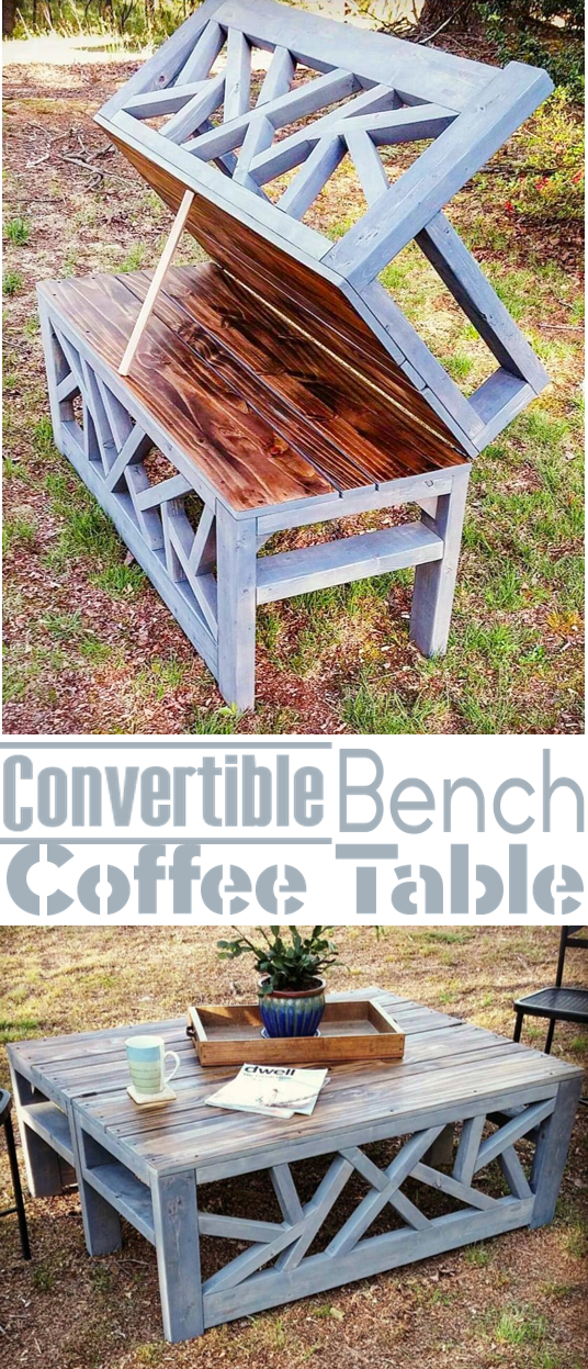 Outdoor Convertible Coffee Table and Bench | Bancos, Mesas y Madera
