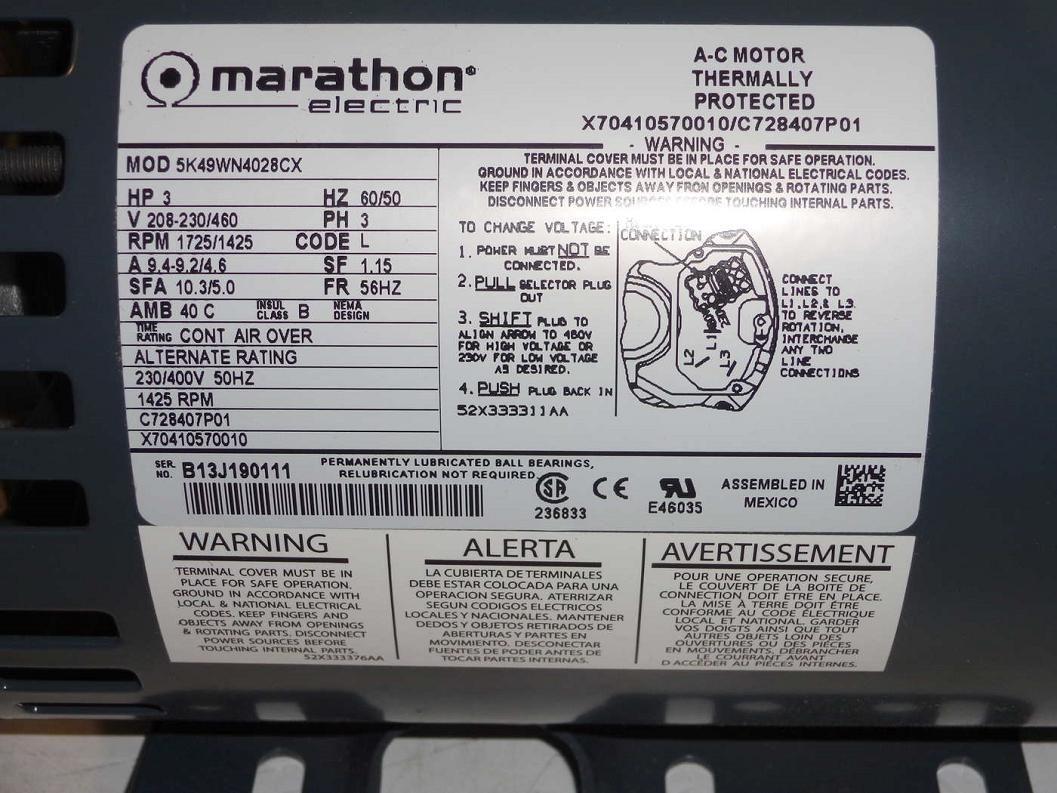 Marathon Electric 5K49WN4028CX is proprietary to Trane, who
