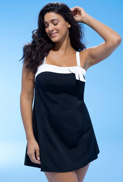 a1a83bc0ae Swim365 Black Bow-Trim Swimdress   clothing, jewelry, shoes and ...